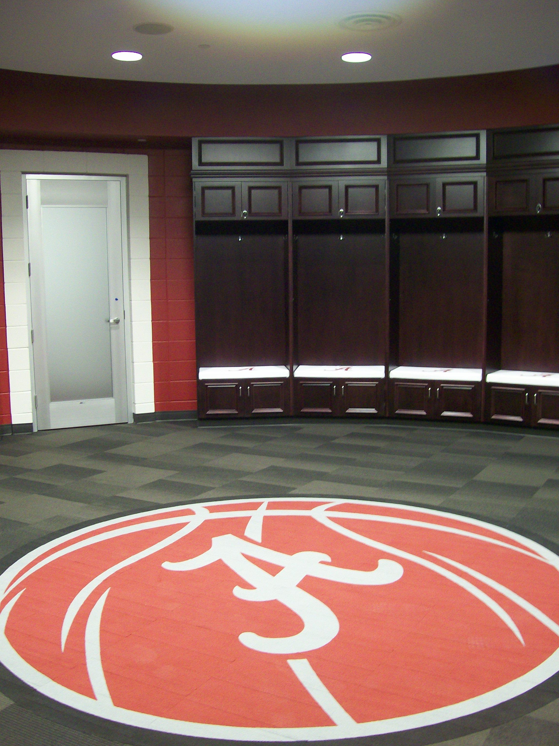 Harley color carpet tiles - University Of Alabama Basketball Locker Room