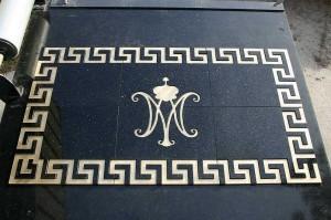 Brass inlay in granite